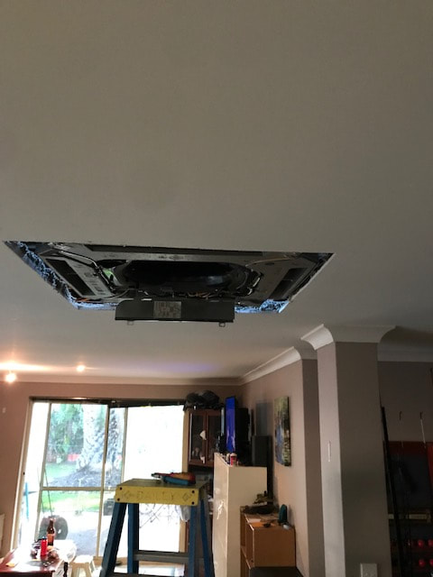 Indoor unit hung in the ceiling
